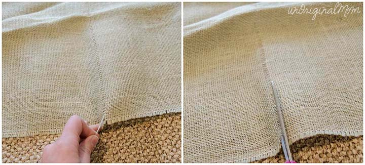 A simple trick for how to cut burlap in a straight line - no fraying!