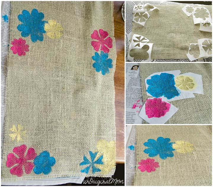 How to make a burlap garden flag - paint flowers using freezer paper stencils cut with your Silhouette!