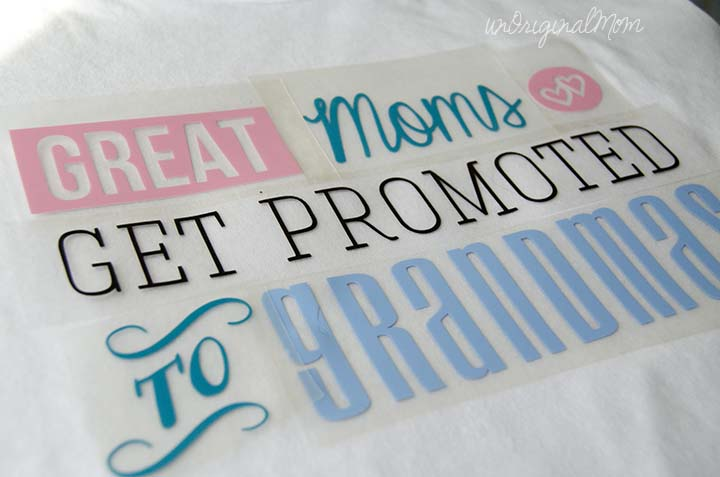 Great Moms get promoted to Grandmas - great gift idea for Mother's Day! Free cut file and heat transfer vinyl tutorial!