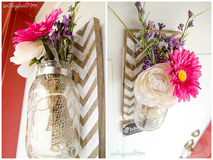 Chevron Pallet Mounted Hanging Mason Jar Vase Unoriginal Mom