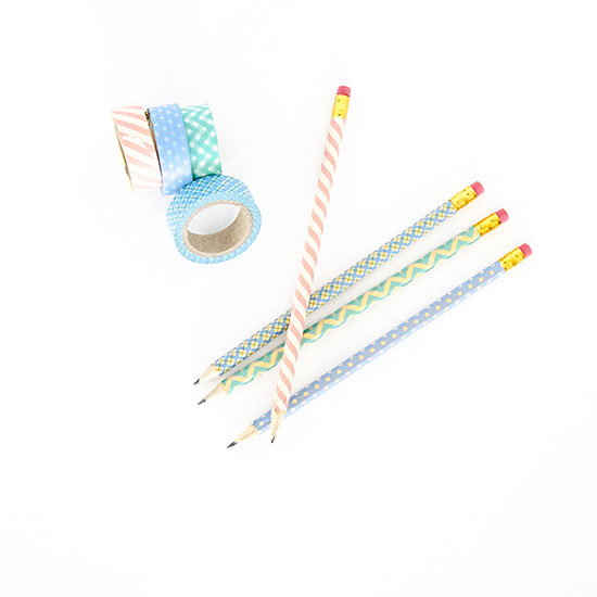 "Cover pencils in washi tape and put in a cute mason jar as an easy and fun teacher appreciation gift.  Teacher's are always getting their pencils ""borrowed"" by students...this way, they know which ones are theirs!"
