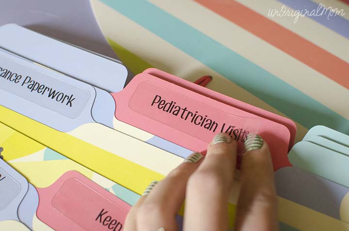 Make file folder labels - like these for a baby folder - with your Silhouette using clear printable sticker paper!