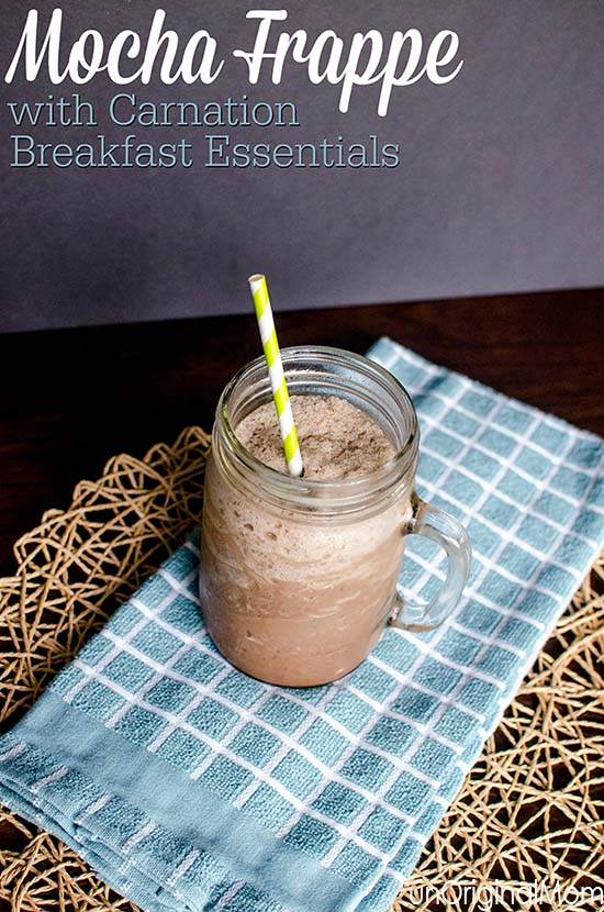 3 ingredient mocha frappe, made with Carnation Breakfast Essentials - get your morning essentials with your cup of coffee!