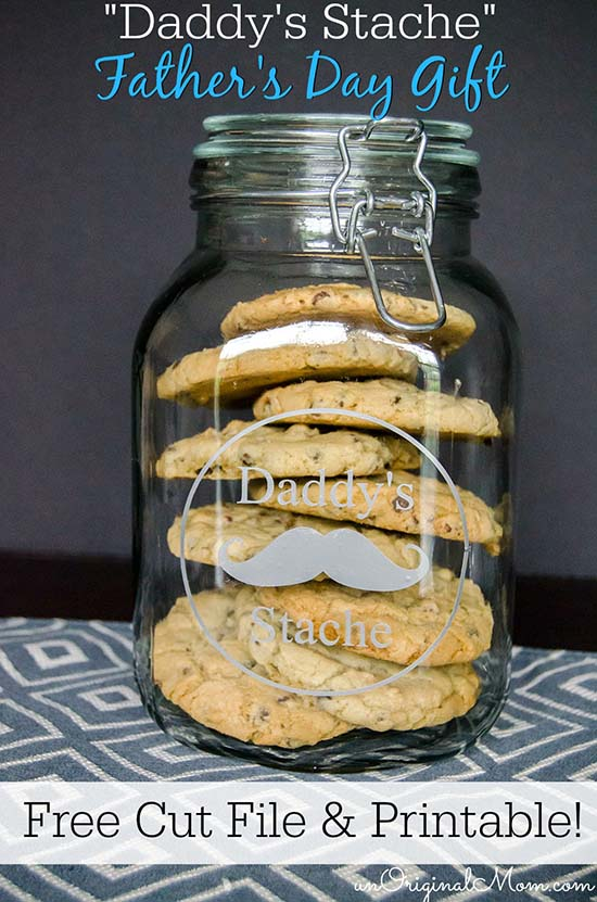 Daddy's Stache - cookie jar for Dad!  Great Father's Day gift.  Fill with treats and send to work with Dad!  Free cut file and printable tag.