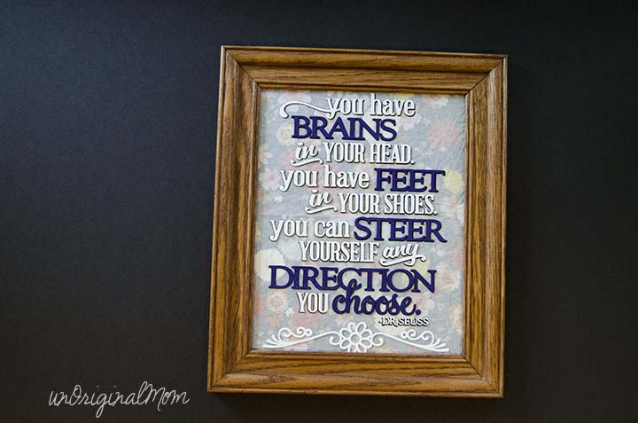 Dr. Seuss Quote Graduation Gift - cut out of vinyl and adhered to the glass in a photo frame.