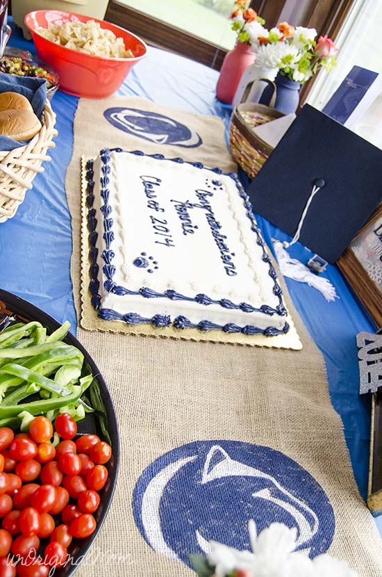 Navy Blue, White, and Coral Penn State Graduation Party!