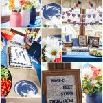 Navy Blue, White, and Coral Graduation Party