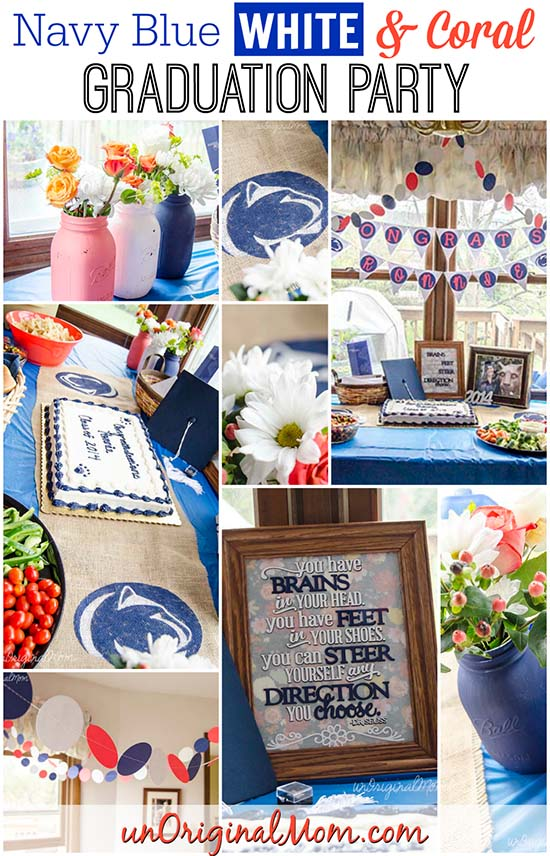 Grad party tip - add an unexpected color to make it unique. This party was for Penn State blue & white, with accents of coral.