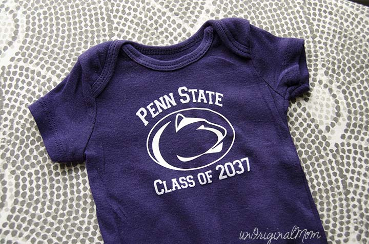 "Use heat transfer vinyl to make a ""Class of"" college onesie for baby!"