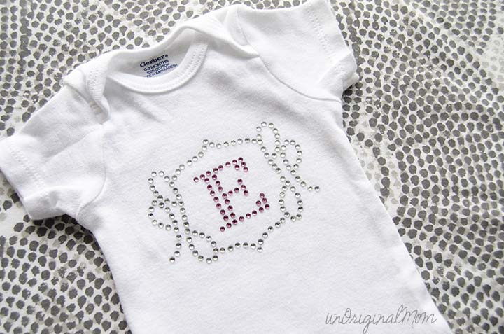 Create a custom rhinestone template for a onesie using your Silhouette!