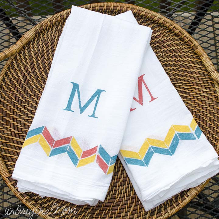 Easy Monogrammed Tea Towels Using Freezer Paper Stenciling Great Ideas For Housewarming Bridal Shower