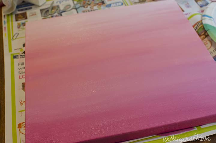 """A painted ombre canvas with chipboard letters create this simple """"Dream Big Little Girl"""" canvas art!"""