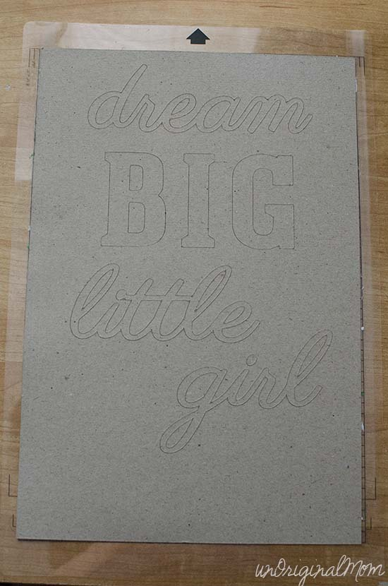 "A painted ombre canvas with chipboard letters create this simple ""Dream Big Little Girl"" canvas art!"