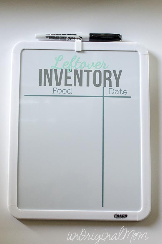 A simple way to help keep the fridge organized (and to know what's in it) - a leftover inventory white board!