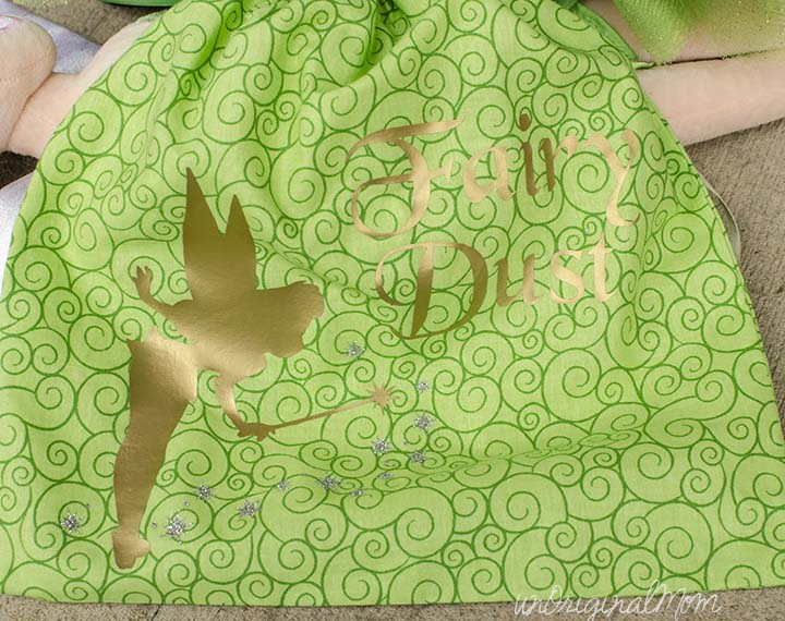 "DIY Toddler Tinkerbell Costume - complete with ""fairy dust"" candy bag made with heat transfer vinyl"
