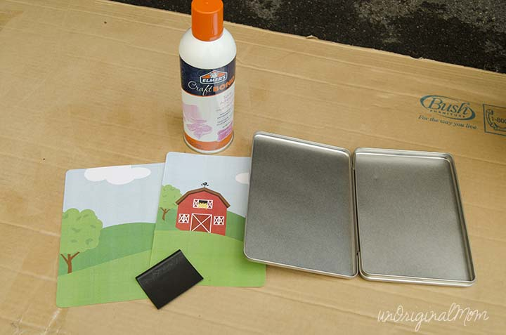 Make your own magnetic traveling farm toddler game using DVD tins - use your Silhouette or just buy pre-made magnets to fill them!