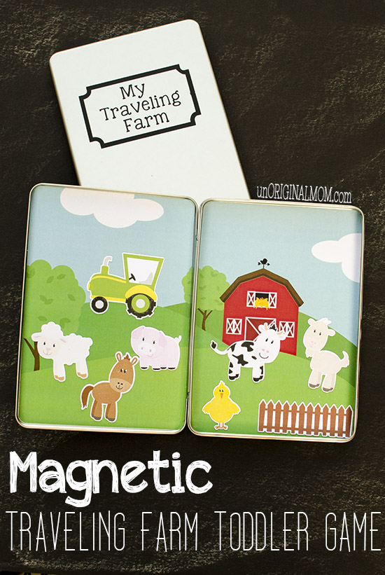 Make your own magnetic traveling farm toddler game using DVD tins - use your Silhouette or just buy premade magnets to fill them!