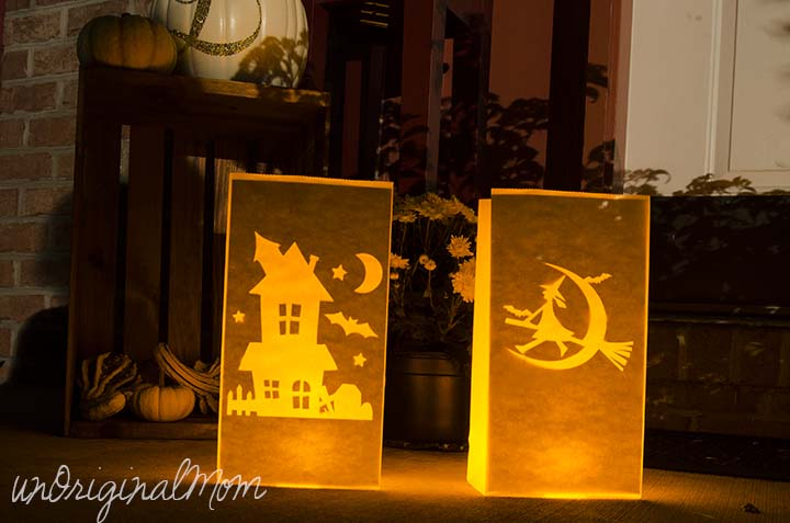 Make glowing Halloween paper bag luminaries with your Silhouette in less than 10 minutes - great front porch decor for Trick or Treat night!