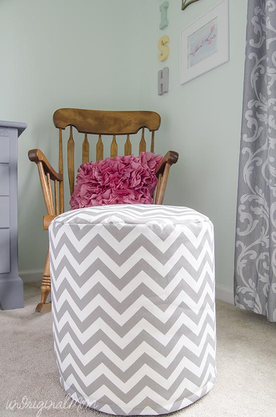 Mint, Pink, and Gray Big Girl Room Sneak Peek - decorating a reading nook with pillows and poufs!