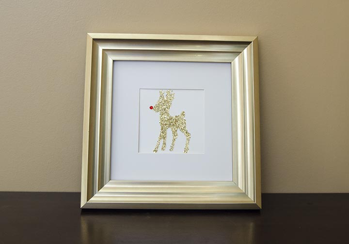 Glitter rudolph using Silhouette's double-sided adhesive