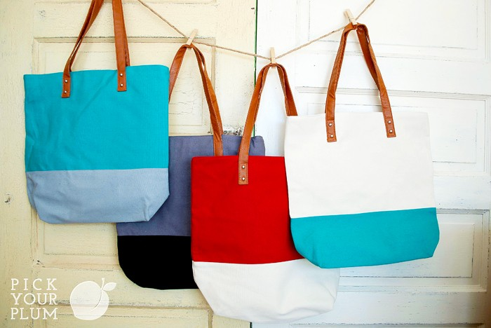 pick your plum tote bags - great for personalizing!