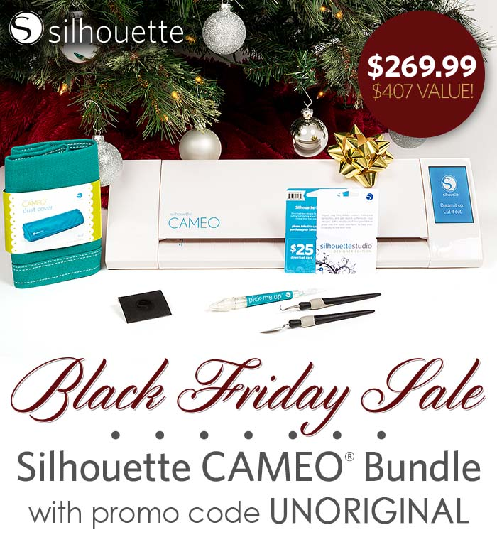 Silhouette Cameo bundle for just $269.99 through December 8 - plus 3 other incredible machine bundles, 40% off materials, and free shipping!!