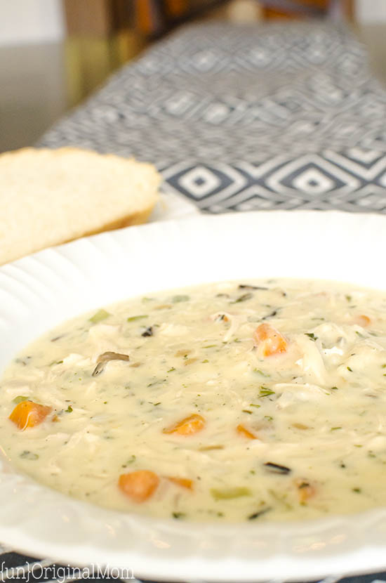 Chicken and Wild Rice Soup made easy with a box of Wild Rice with seasoning - a delicious and hearty soup for the cold winter months!