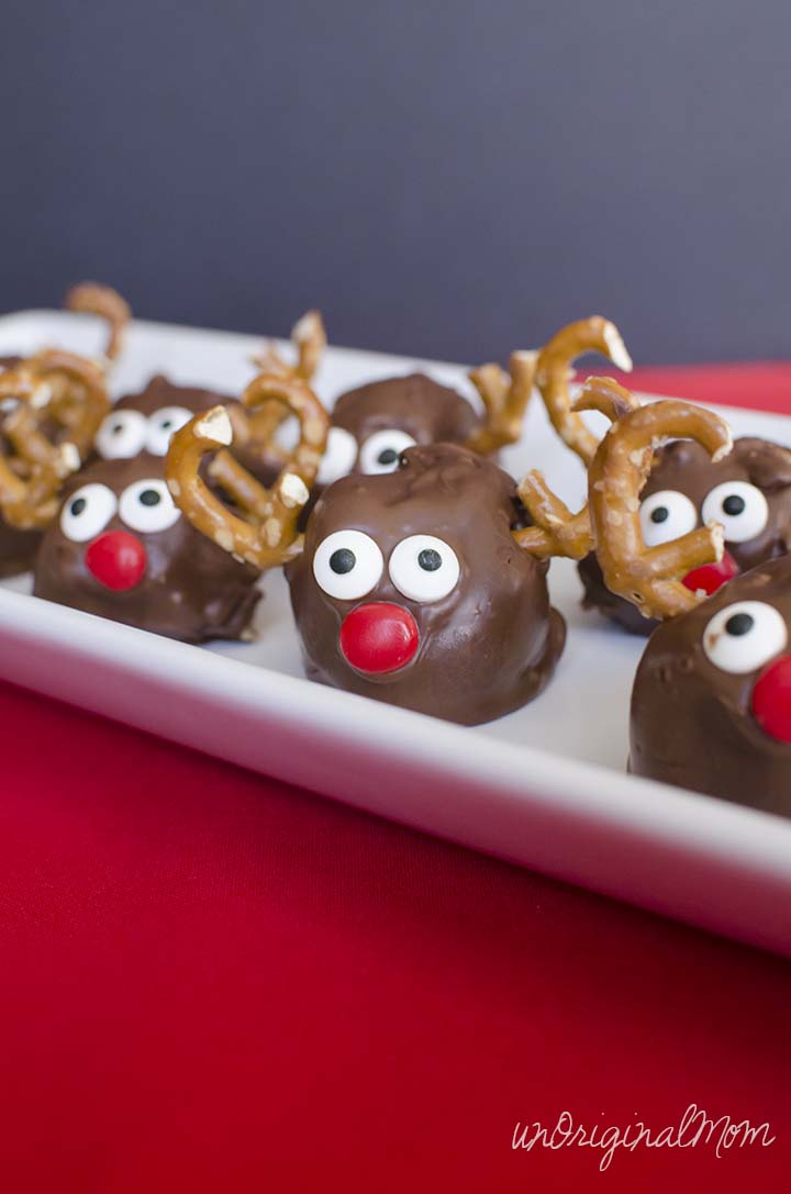 "Make ""Rudolph"" Peanut Butter Balls as a cute holiday treat - perfect for entertaining!"