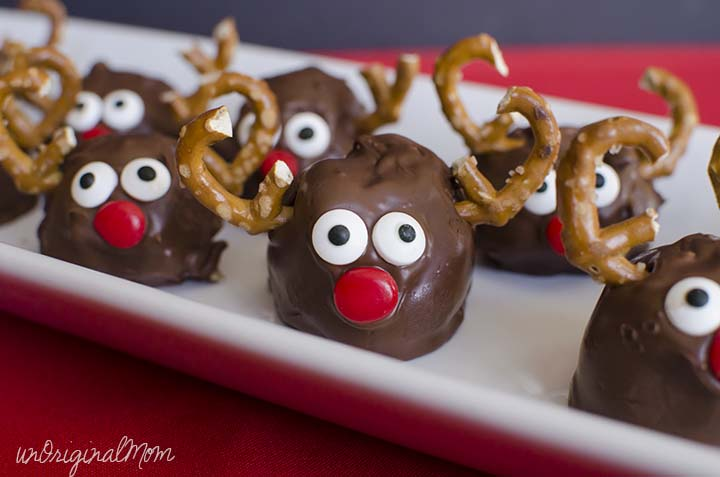 """Make """"Rudolph"""" Peanut Butter Balls as a cute holiday treat - perfect for entertaining!"""