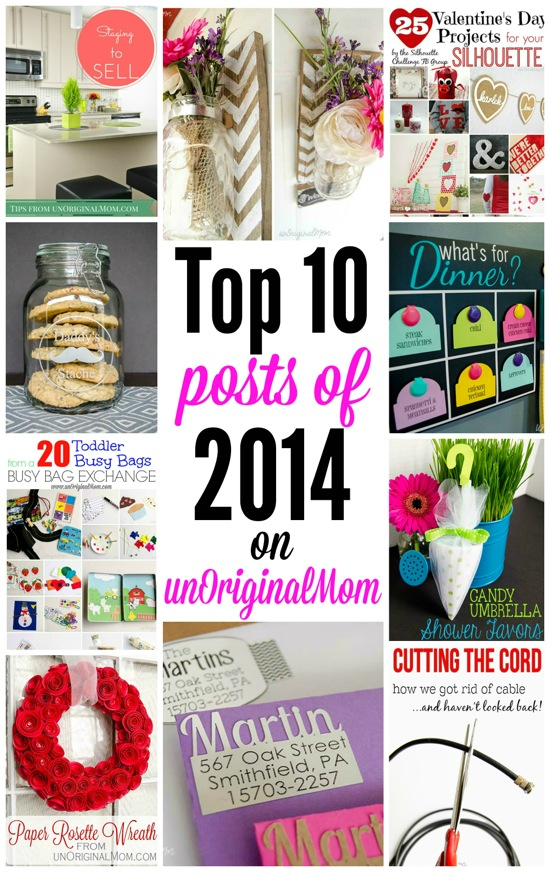 Top 10 most popular posts of 2014 from unOriginalMom.com