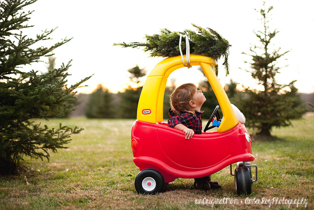 Family Christmas Photos simply styled at a tree farm - perfect for a Christmas card!