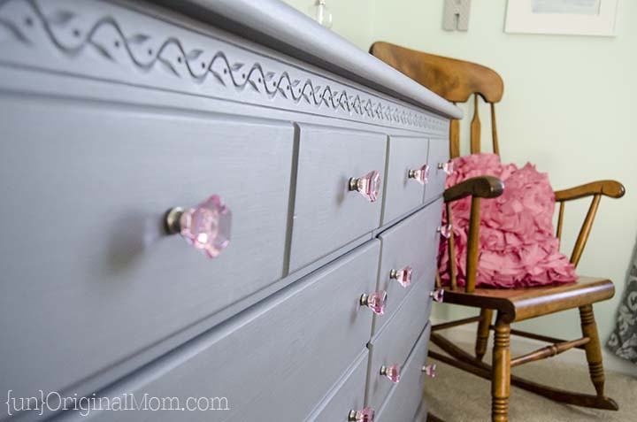 "Beautiful dresser transformation with chalk paint.  Love the gray and pink color combination, perfect for a ""big girl room!"""