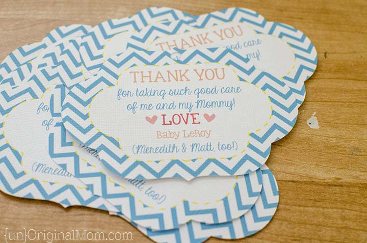 """Silhouette """"print and cut"""" labels make a great personal touch for labor and delivery nurse thank you bags!"""