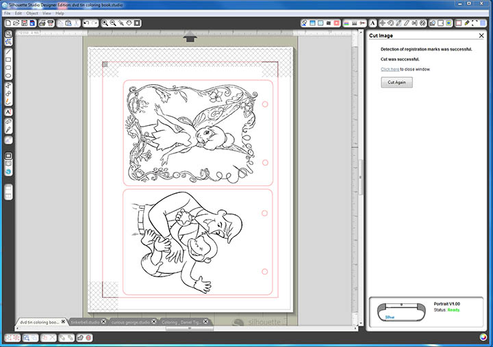 Use your Silhouette to create coloring pages for an upcylcled DVD case coloring kit