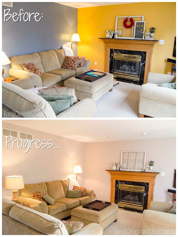 """Living room gray paint makeover - before and """"after"""""""