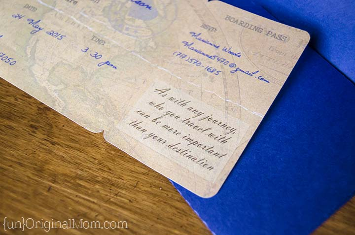 DIY Boarding Pass Invitations for a travel themed bridal shower - includes a free cut file for the invitation and the envelope!
