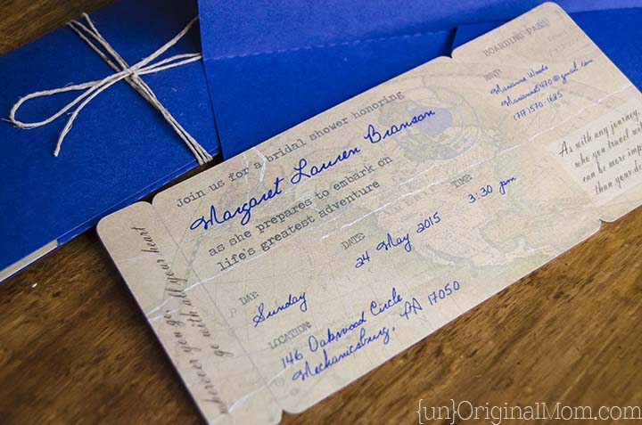 diy boarding pass invitations for a travel themed bridal shower includes a free cut file