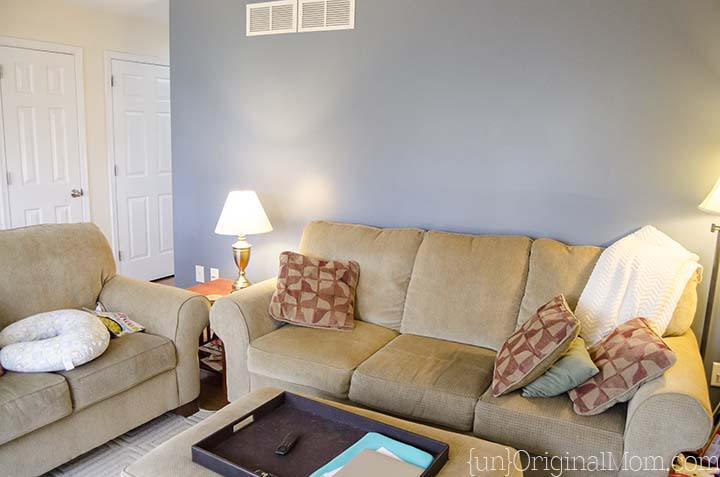 Accent walls begone!  Living Room gray paint makeover