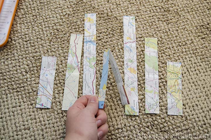 Map Paper Strip Heart Tutorial - unOriginal Mom