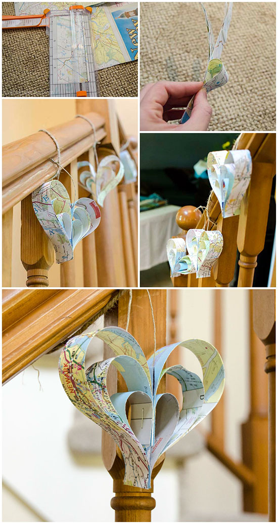 Easy DIY paper strip hearts made out of maps.  So great for a travel themed bridal shower or baby shower