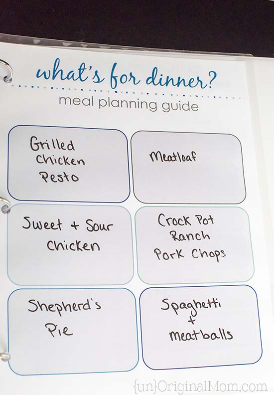 11 page flexible meal planning guide - includes dinner repertoire pages, a shopping list, pantry inventory chart, and more!  What a great way to stay on top of meal planning.