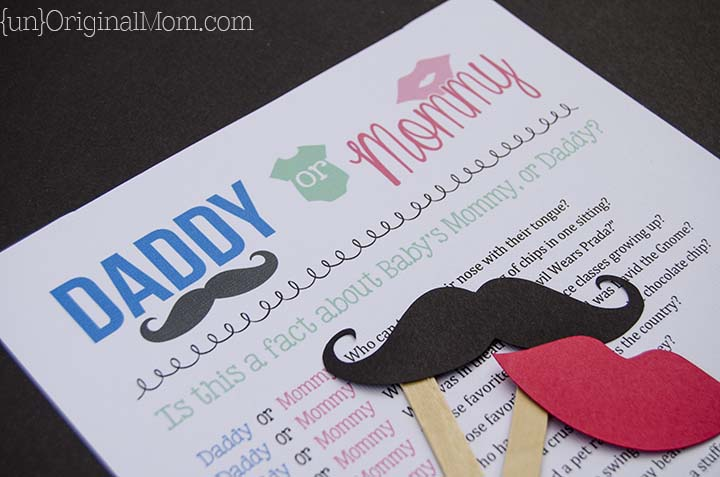 """Daddy or Mommy?"" - fun idea for a baby Shower game!"