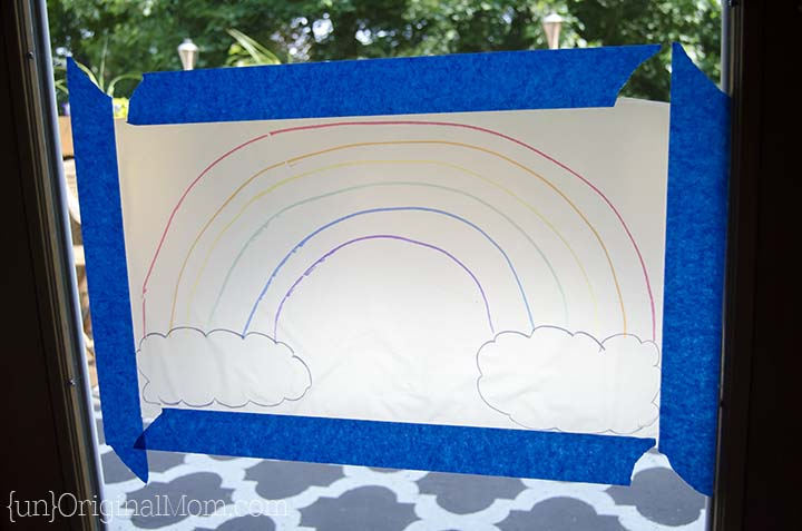 "Tissue paper ""stained glass"" - easy kid craft project with Glad Press'n Seal"