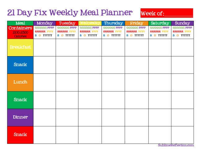 21 Day Fix Meal Planning Tips My Favorite Foods unOriginal Mom – My Daily Food Plan Worksheet