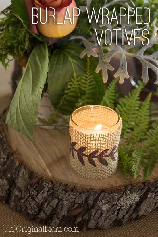 Burlap wrapped votives - lovely decor for a woodland wedding