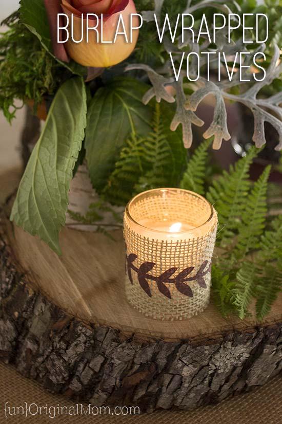 Burlap wrapped votives - lovely decor for a woodland wedding
