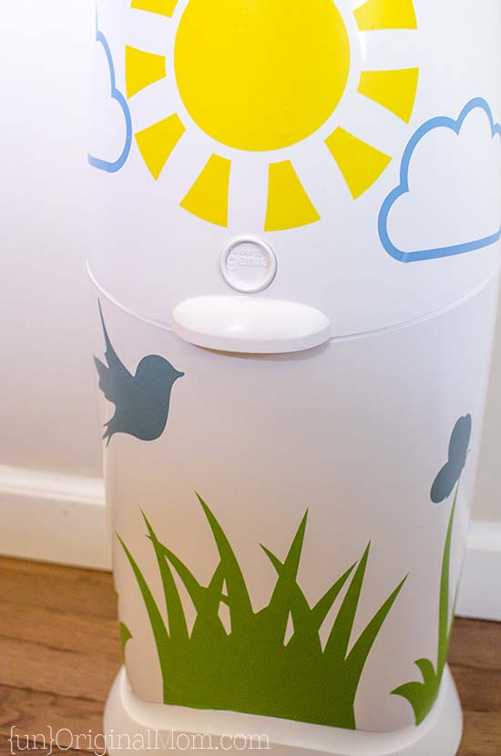 Add vinyl to your Diaper Genie - a great way to brighten up the nursery, or a fun shower gift!