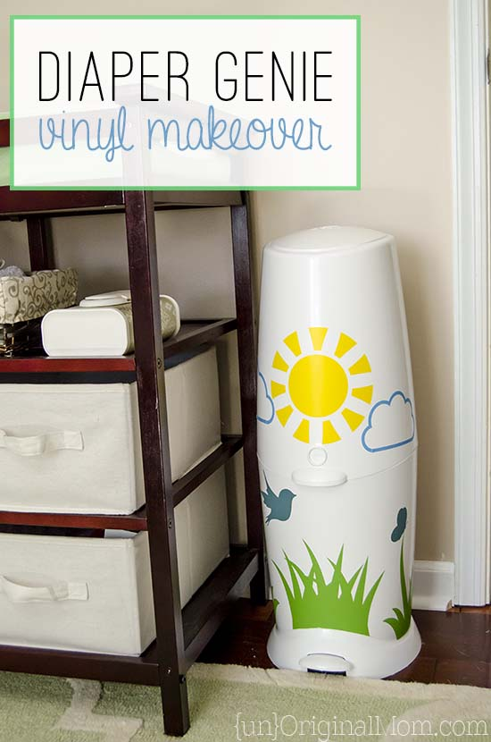 Add vinyl to your Diaper Genie - a great way to brighten up the nursery!