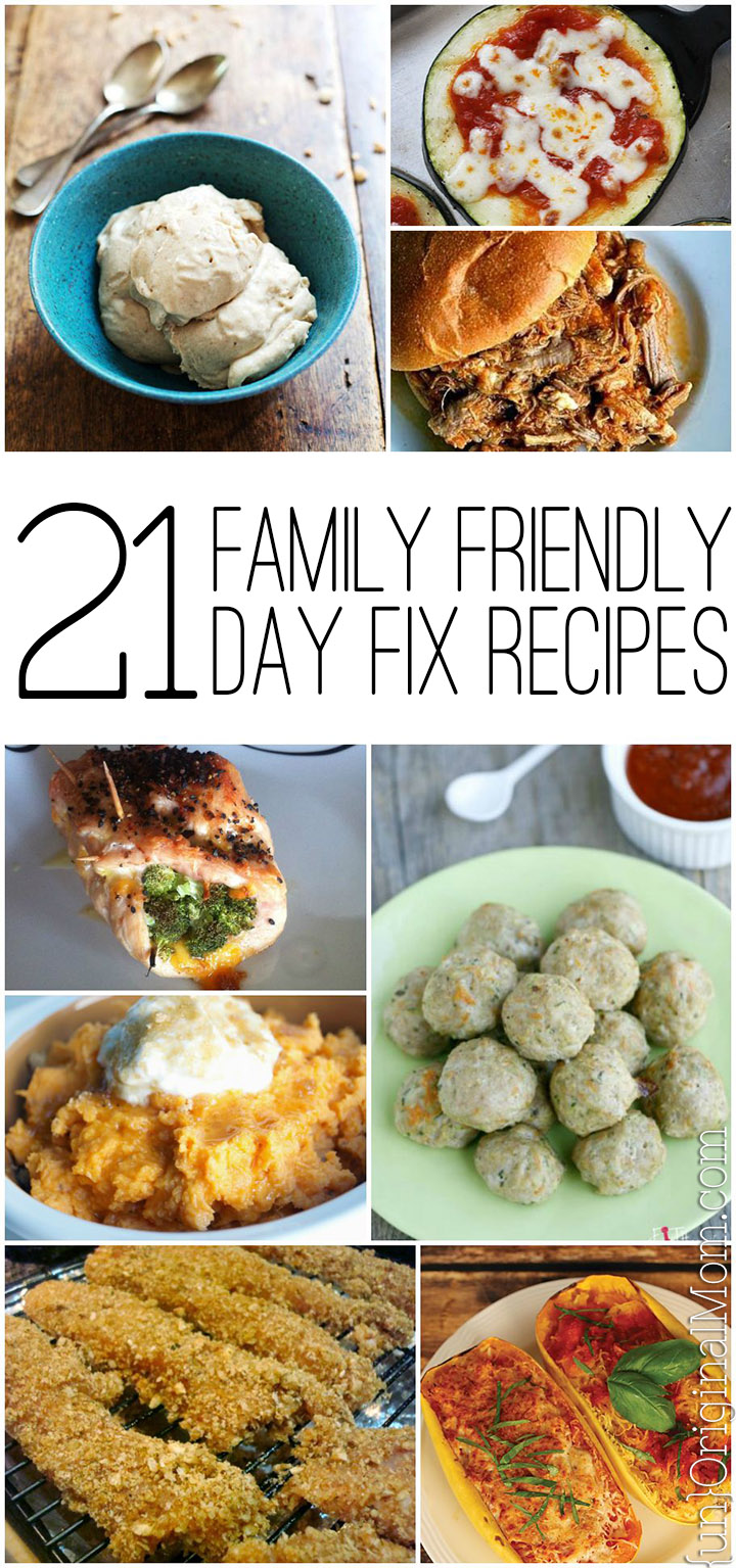 A great round up of 21 family friendly recipes to make on the 21 Day Fix #21dayfix #healthyrecipes #familyfriendly #wholefood #cleaneating #21df