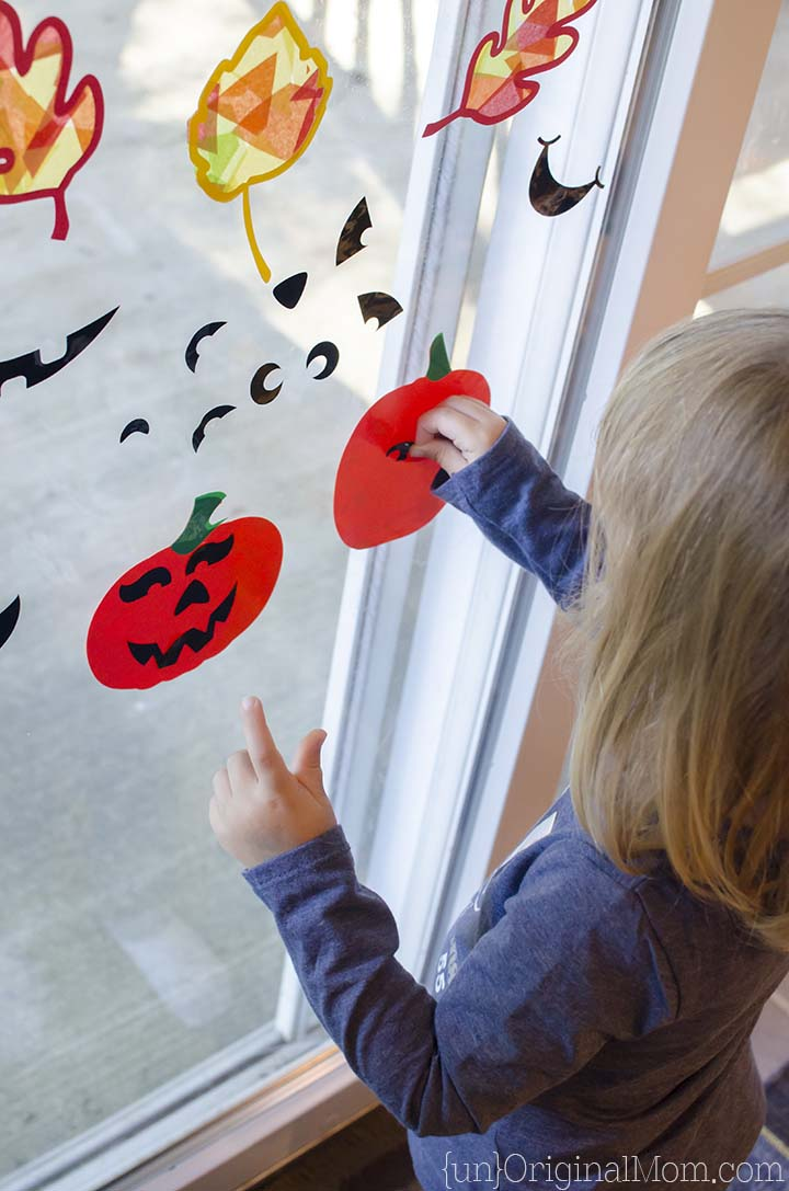 Cut window cling material with your Silhouette to make fun choose-your-own Jack o'Lanterns!